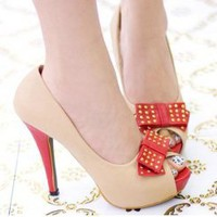 Wholesale Fine with shallow mouth fish in a bow mouth waterproof rivets high-heeled shoes CZ-0707 apricot - Lovely Fashion