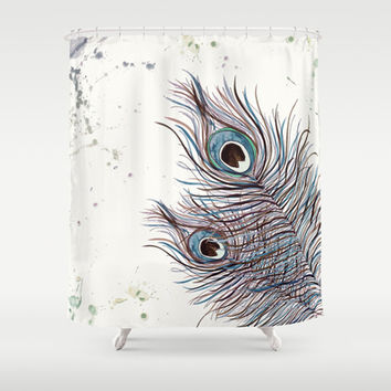 Watercolor  *** BOHO PEACOCK  *** Shower Curtain by Monika Strigel