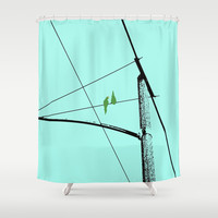 Love Birds Geometry Shower Curtain by RichCaspian
