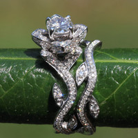 BLOOMING Work Of Art - Flower Rose Lotus Diamond Engagement Wedding Ring Set - 14K - brides - fL07 Beautiful Petra Patented design
