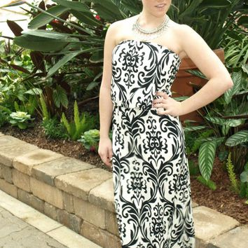 Black and White Pattern Strapless Maxi Dress