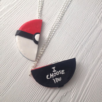 Pokeball 'I CHOOSE YOU' Friendship Necklace Set