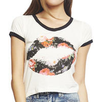 Floral Lips Crop Tee | Wet Seal