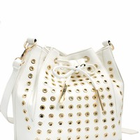 Grommet Studded Bucket Bag