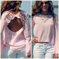 Hidden Hills Pink Lace Back Bell Sleeve Blouse