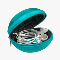 Aqua Blue Earphone Headset Earbuds Hard Hold Case with Headphone Cord Wire Clip Nip Holder