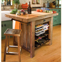 American Barn Wood Kitchen Island &amp; Stools 
