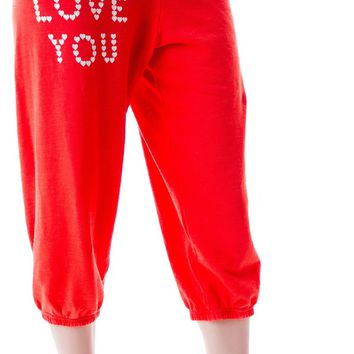 Little Heart Spell Cropped Morning Sweats