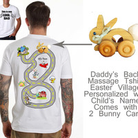 Easter Village Dad Back Massage Tshirt with 2 Bunny Cars Fathers Day Easter Birthday Gift