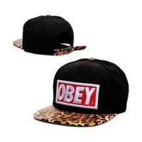 NEW Obey Hat Adjustable Snapback Cap Leopard Black