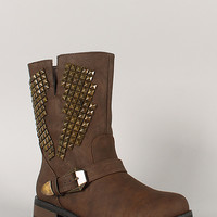 Bamboo Battle-12 Studded Buckle Riding Mid Calf Boot
