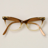 vintage 50s cateye cat eye glasses copper aluminium brown plastic fade 1950 Liberty rhinestone