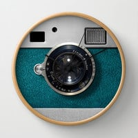 Classic retro Blue Teal silver Leather Germany vintage camera Decorative Circle Wall Clock Watch by Three Second