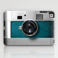 Classic retro Blue Teal silver Leather Germany vintage camera apple iPad 2, 3 and iPad mini Case