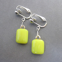 Yellow Clip-on Earring, Fused Glass Clip On Earings - Lemon Drop  by mysassyglass