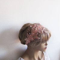 Peach wedding Lace Headband, Bridal Hair Lace Hair, Romantic Bridal headpiece,İvory Pearl Embroidered, Wedding Hair Accessory