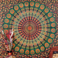 Hippie Hippy Wall Hanging , Indian Mandala Tapestry Throw Bedspread , Dorm Tapestry , Decorative Wall Hanging , Picnic Beach Sheet