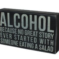 """Alcohol"" Hanging or Standing Décor Wood Box Sign for the Home Bar - Office - Desk, Wall or Tabletop Display - 6"" X 10"""