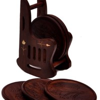 A Beautiful Set of 6 Round Wood Drink Table Coasters [Coaster Size: Appx. 8.5 cm Diameter] in a Cool, Stylish, Rocking Chair Design Wooden Coaster Holder Handmade in Indian Rosewood or 'Sheesham' - Best for Tea Cups and Coffee Mugs for Office or Personal U