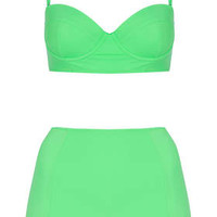 Apple Green Bikini and High Waisted...