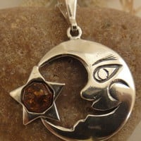 Real Baltic Amber moon Start Necklace | asterling - Jewelry on ArtFire