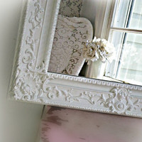 V I N T A G E ... White Ornate Framed Mirror Shabby Chic Cottage Style