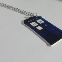 Doctor Who TARDIS Charm Necklace by Coffinkittie on Etsy