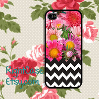 FLORAL Black CHEVRON IPHONE 5S Case Flower Geometric iPhone Case iPhone 5 Case iPhone 4 Case Samsung Galaxy S4 S3 Cover iPhone 5c iPhone 4s