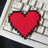 8 Bit Heart Iron On Patch  Computer Geek Love by HandmadePatches