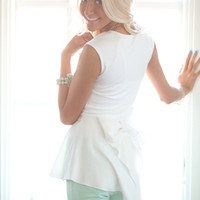 Bow Back Peplum Top Ivory