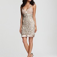 Sue Wong V-Neck Leaf Embroidered Dress - Dresses - Bloomingdales.com
