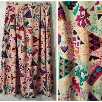 Awesome Tribal Print Aztec Skirt - Perfect for Festivals! Colorful, Fun, Vintage Skirt, Southwestern Skirt, Midi Skirt, Maxi Skirt