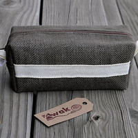Box Bag, Toiletry Bag, Make up Cosmetic Bag or Pencil Case - Brown Rustic Jute Burlap - AWAK