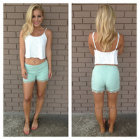 Sage Lace Trim Shorts