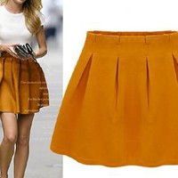 Golden Mustard High Waisted Skater Skirt