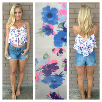 Pink & Blue Fields Of Flowers Crop Tank Top