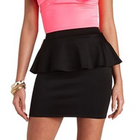 HIGH-WAISTED PEPLUM MINI SKIRT