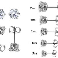 5 Pair Set of Rohdium Plated Anti Tarnish Stainless Steel Round Sparkling Clear Cubic Zirconia Stud Earrings Set Our Stud Earring Set Includes One Pair Each of 3mm 4mm 5mm 6mm 7mm