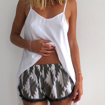 Pom Pom / Tassel Shorts - Grey & White Chevron Print with Grey Tassel Trim- Gym/Beach Shorts