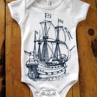 Screen Printed American Apparel Ship Onesuit by Rabbitapparel
