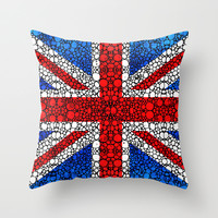 British Flag - Brittain England Stone Rock'd Art Throw Pillow by Sharon Cummings