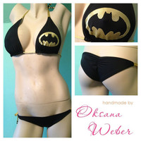 Sexy batman bikini black and gold bikini low rise Swimsuit by oksanaweber