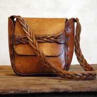 1970s Vintage Leather Bag // Big Braid Bold by 86Vintage86 on Etsy