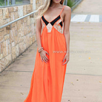 LINCOLN MAXI , DRESSES, TOPS, BOTTOMS, JACKETS & JUMPERS, ACCESSORIES, 50% OFF SALE, PRE ORDER, NEW ARRIVALS, PLAYSUIT, COLOUR, GIFT VOUCHER,,MAXIS,Print,Orange,Sequin,SLEEVELESS Australia, Queensland, Brisbane