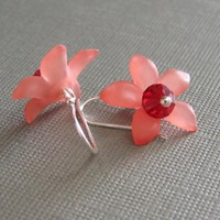 Pink Petal Sterling Silver Earrings by crazy4jewels on Etsy
