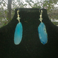 BLUE GEODE EARRINGS by jewelryandmorebyjb on Etsy