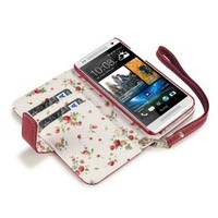 HTC One Mini Premium Faux Leather Wallet Case with Floral Interior (Red)