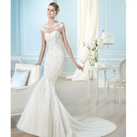 Amazing Mermaid Sweep Boat Neckline Satin Wedding Dress