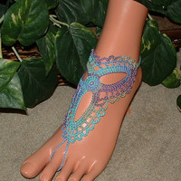 Crochet Ocean Color Barefoot Sandals, Shoe Accessories, Footless, Bottomless, Ankle Bracelet, Jewelry, Bracelet Rings