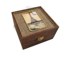 Paris Box with Burlap by DeweysNook on Etsy
